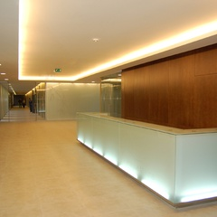 reception desk made from glass