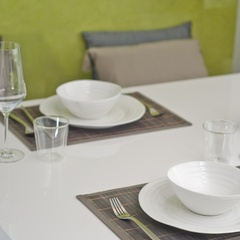 white table from glossy lacquer