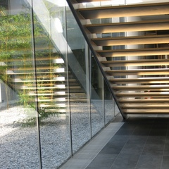 glass wall to the atrium